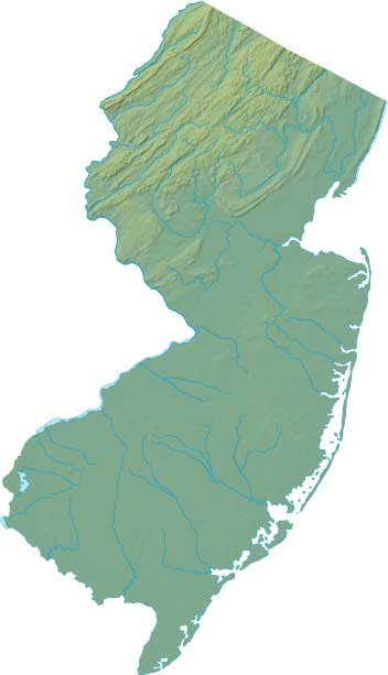 New Jersey relief map